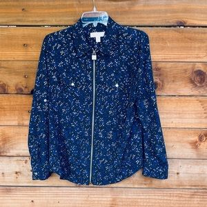 Michael Kors zip up star sparkle blouse/jacket